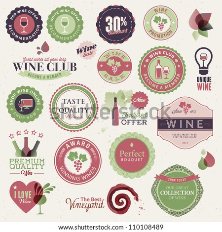 Set of labels and elements for wine - stock vector