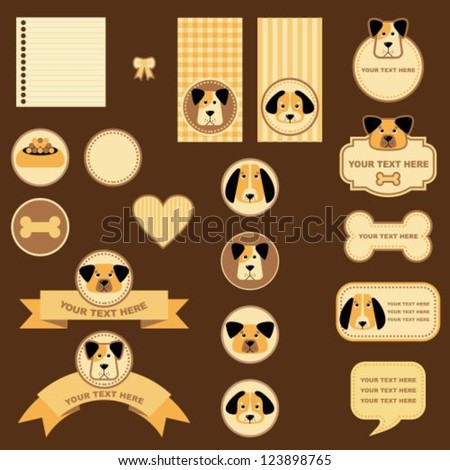 set of labels and tags with dogs