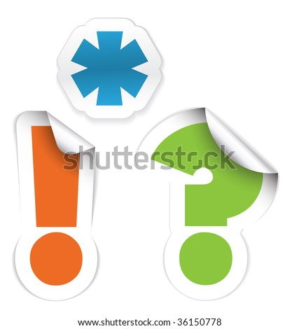 Set of labels - asterisk, exclamation mark and question mark - stock vector