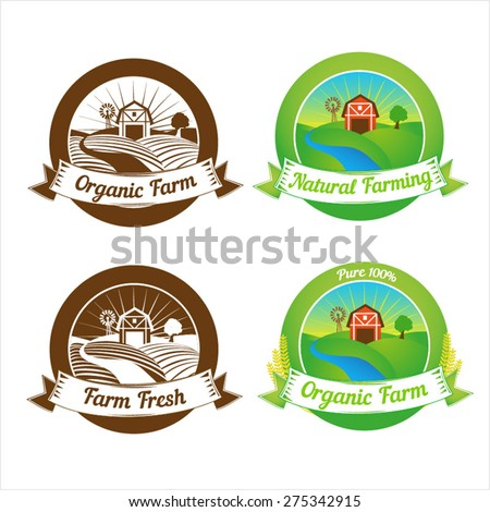 Set of labels, badges and design elements for farm - stock vector