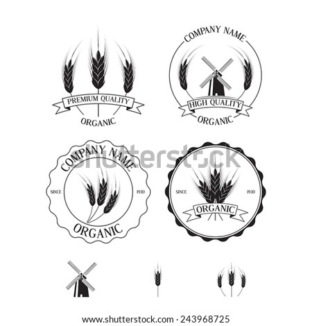 Set of labels, badges and design elements with rye - stock vector