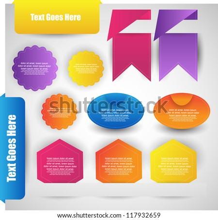 set of labels badges and ribbons on web page - stock vector