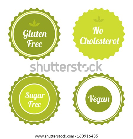 Set of labels, badges and stickers on organic and natural food. Vector illustration. - stock vector