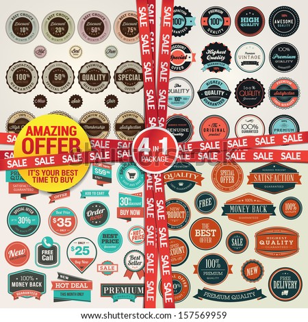 Set of labels, banners, stickers, badges and elements for sale and premium quality. Amazing offer, 4 in 1 package. - stock vector