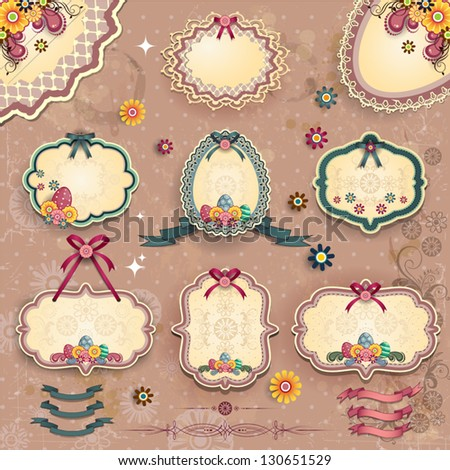 Set of labels floral easter-several levels-transparency blending effects and gradient mesh-EPS 10 - stock vector