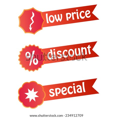 Set of labels for discount sales - stock vector