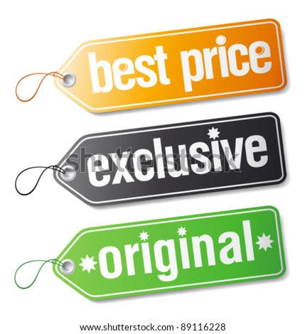 Set of  labels for exclusive sales. - stock vector