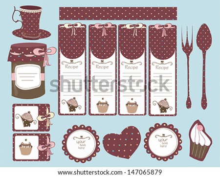 set of labels for recipe and winter stores - stock vector