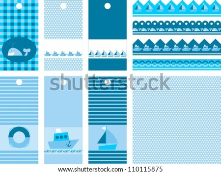set of labels for scrap, vector illustration - stock vector