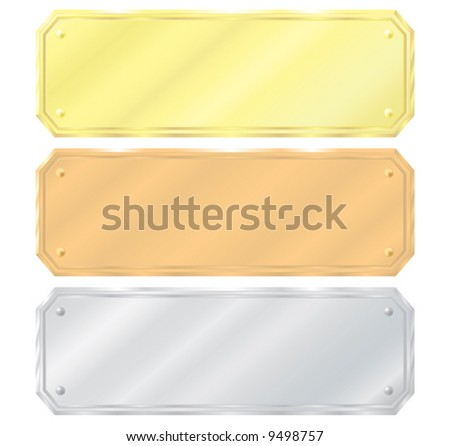 Set of labels. Gold, silver, bronze. Vector illustration. Isolated on a white background.