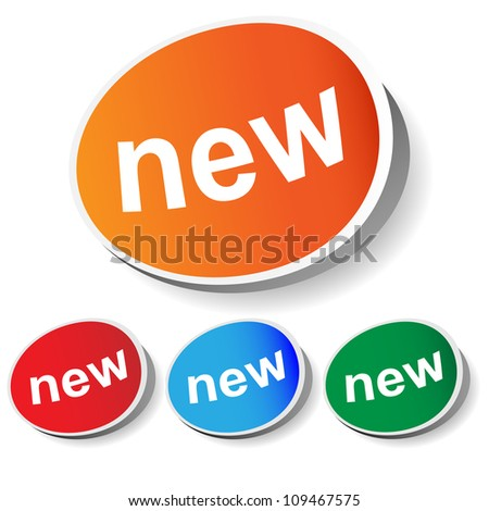 "set of labels ""new"", vector image for design - stock vector"