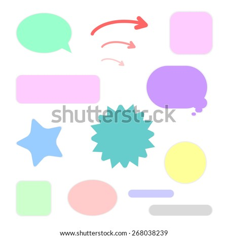 Set of labels of various shapes for any use of different colors in gentle tones for the office for you solid pieces consists of arrows circle, square, star, stripe, oval
