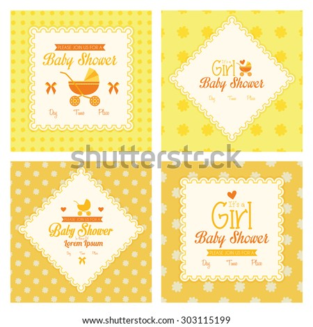 Set of labels on different textured backgrounds for baby showers. Vector illustration - stock vector