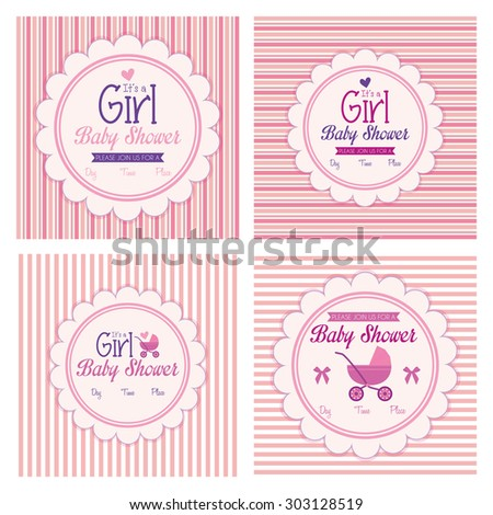Set of labels on different textured backgrounds for baby showers. Vector illustration