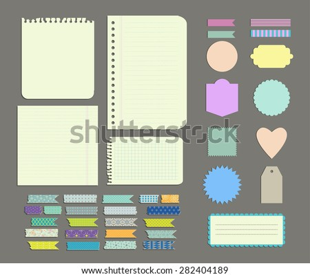 Set of labels, Patterned Wash Tape Strips, decor and design elements. Isolated