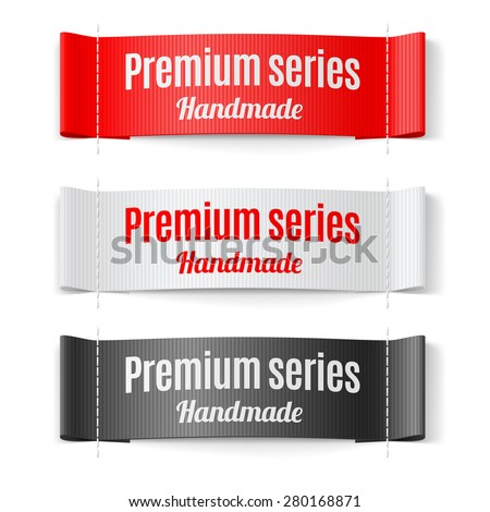 Set of Labels Premium series hand made red white and black - stock vector