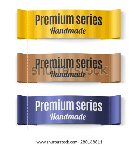 Set of Labels Premium series hand made yellow brown and purple - stock vector
