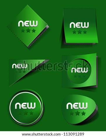 set of labels & stickers. transparent shadow easy replace background and edit colors. - stock vector