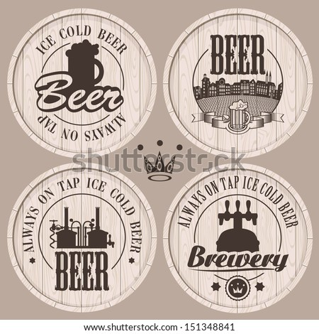 set of labels to beer on wooden casks - stock vector