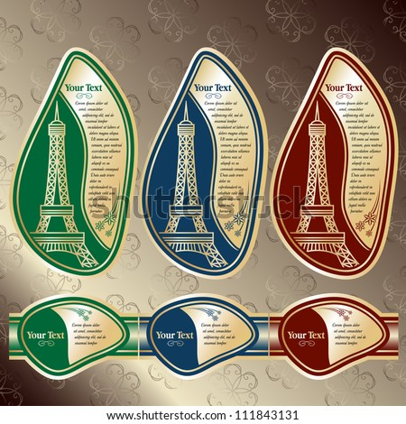 Set of labels with a kind on Eiffel tower (Paris). Red, Blue and Green colors are used. Grouped for easy editing. Perfect for labels for wine, champagne and etc. - stock vector