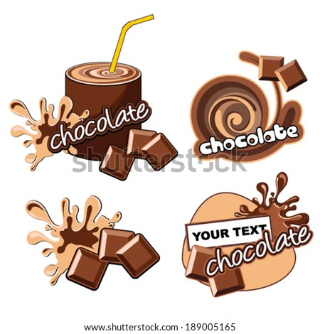 Set of labels with chocolate.  - stock vector