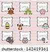 set of labels with cute animals - stock vector
