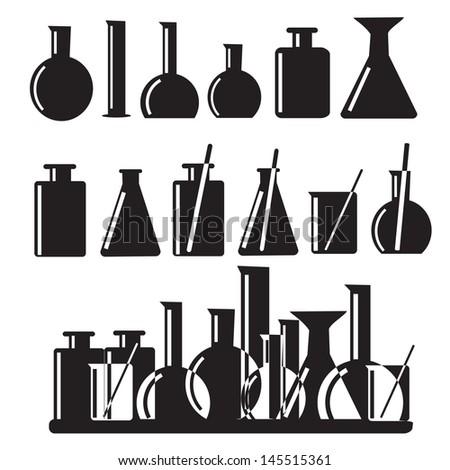 Set of laboratory equipment icons illustration - stock vector