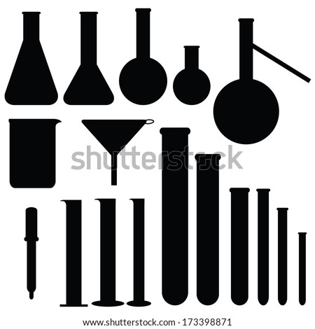 Set of laboratory silhouettes, vector illustration - stock vector