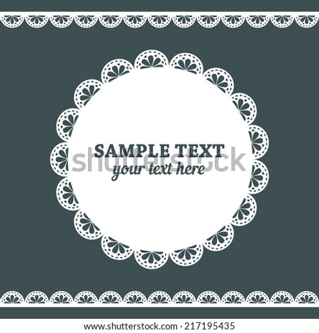 Set of lace frame doily and ribbons border in white color  isolated no dark grey background. Vector illustration.  - stock vector