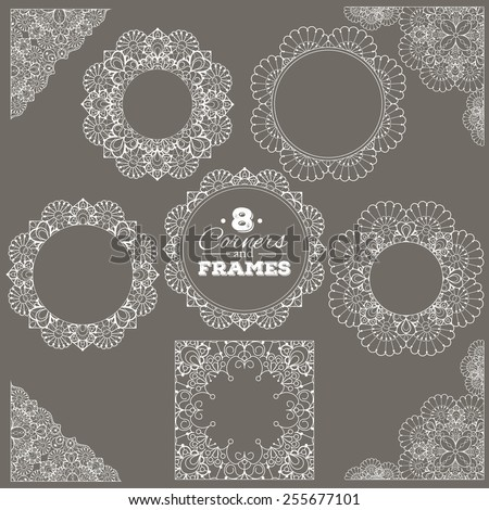 Set of lace frames and corners with transparent background. Can be placed on any background you like. Delicate vintage design elements for cards, wedding invitations, scrapbooking. Eps10 vector - stock vector