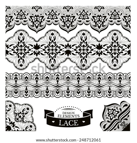 Set of lace patterns vector illustration - stock vector