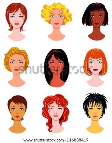Set of ladies haircuts - stock vector