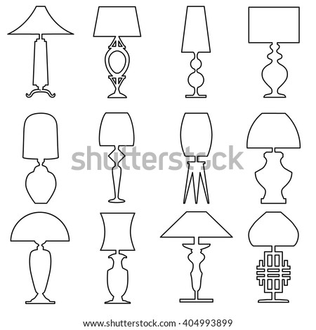 Vintage table lamp line illustration set vectores en stock 109132016 set of lamp outline icon isolated on white background collection of vector drawing icons of aloadofball Choice Image