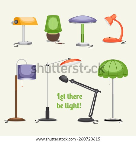 Set of lamps. Furniture and floor lamps and table lamps. Vector illustration - stock vector