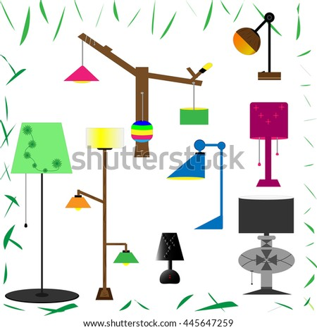 Set of lamps. Furniture and floor lamps and table lamps. Vector illustration