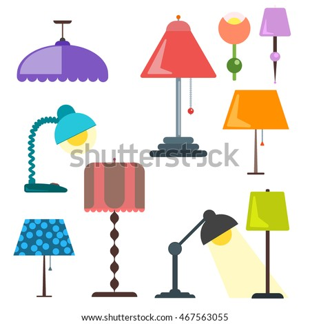 set of lamps furniture and floor lamps and table lamps vector lamp light