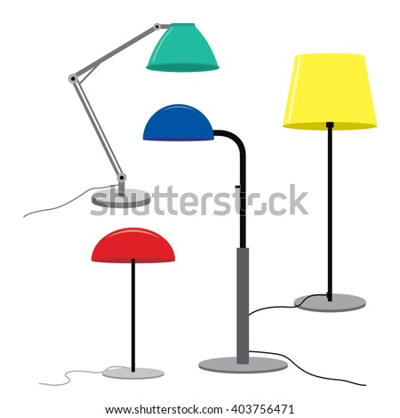 Set of lamps Furniture floor lamps Vector illustration  - stock vector