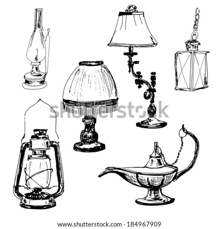 Set of lamps. Yand drawn graphic illustrations - stock vector