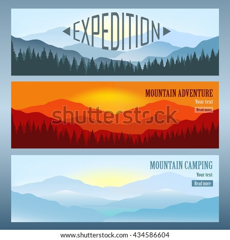 Set Of 3 Landscapes With Mountains Banners Travel Agency Advertisement Vector Illustration