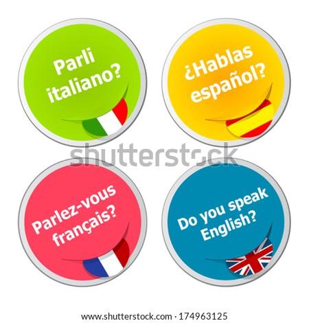 set of language stickers - stock vector