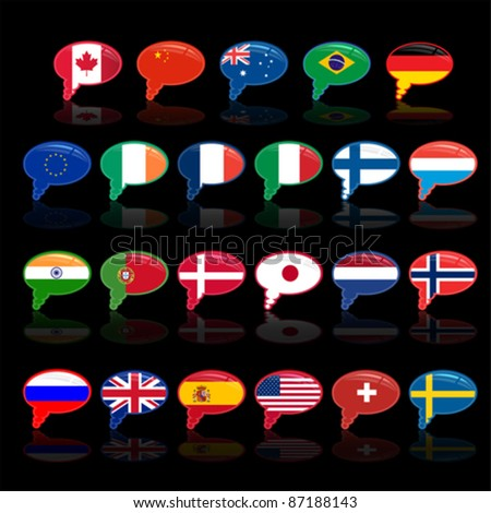 set of  languige bubble with flags, vector - stock vector
