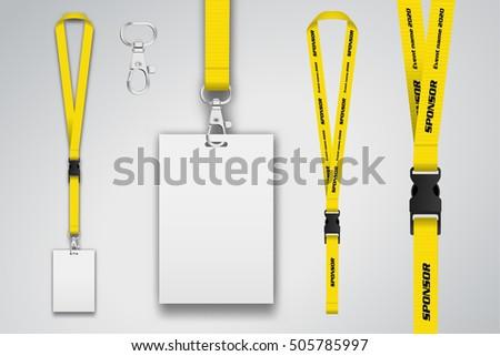 Set Lanyard Badge Metal Piece Template Stock Vector - Lanyard template