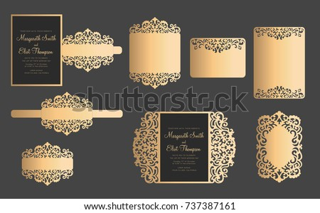 Set Laser Cut Template Wedding Cards Stock Vector HD (Royalty Free ...
