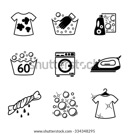 Set of Laundry icons with - clean and dirty shirts, hand washing, washing mashine, iron, bleach, bubbles. Vector - stock vector