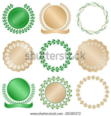 Set of laurel leaves seals in green and gold good for awards, quality, or commemorative use. - stock vector