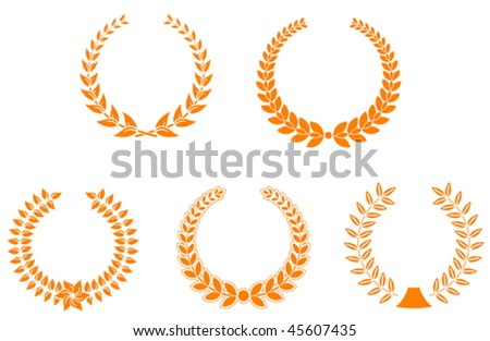 Set of laurel wreaths for design and decorate - also as emblem or logo template. Jpeg version is also available - stock vector