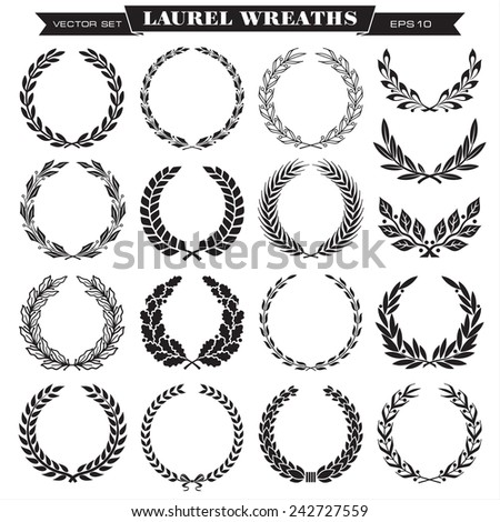 Set of laurel wreaths vector - stock vector