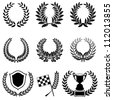 Set of Laurel Wreaths with Cup, Checkered Flag and Shield, isolated on white, vector - stock photo
