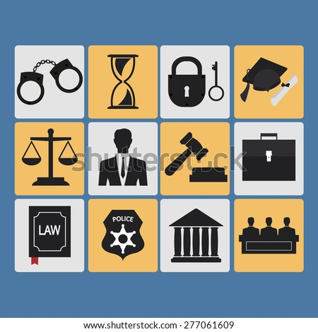 Set of law and justice flat icons. Vector Illustration - stock vector