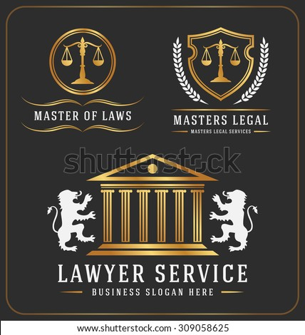 Set of lawyer service office logo template design. Vector illustration